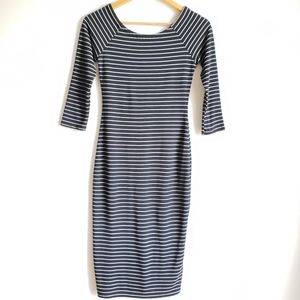Zara Striped Midi Quarter Sleeve Bodycon Dress M.